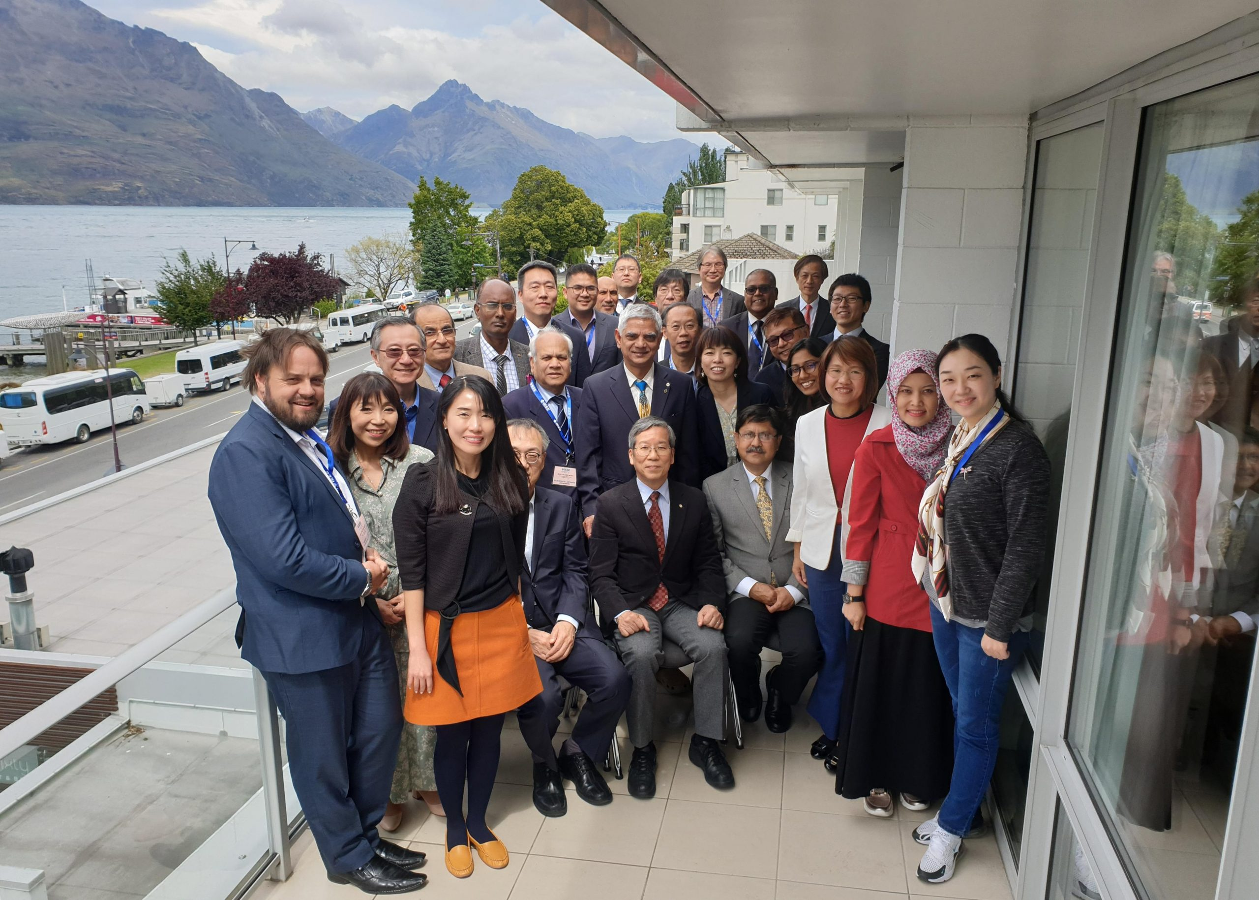 Attendees with Lake Wakatipu in the back